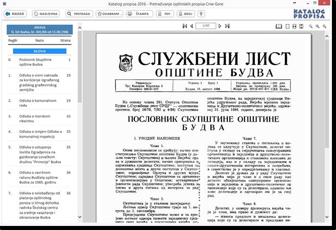 Katalog propisa 2016 - Elektronska arhiva skeniranih službenih glasila opštine Budva