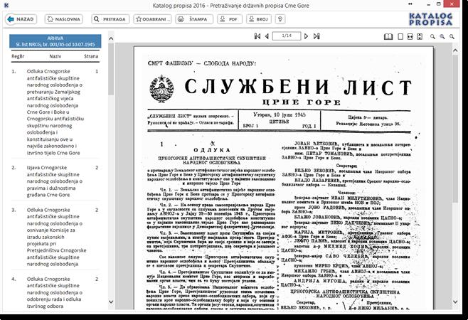 Katalog propisa 2016 - Elektronska arhiva skeniranih službenih glasila Crne Gore