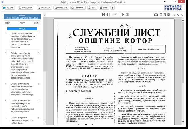 Katalog propisa 2016 - Elektronska arhiva skeniranih službenih glasila opštine Kotor