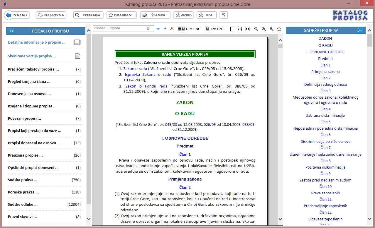 Katalog propisa 2016 - Tekst propisa - ranija verzija propisa