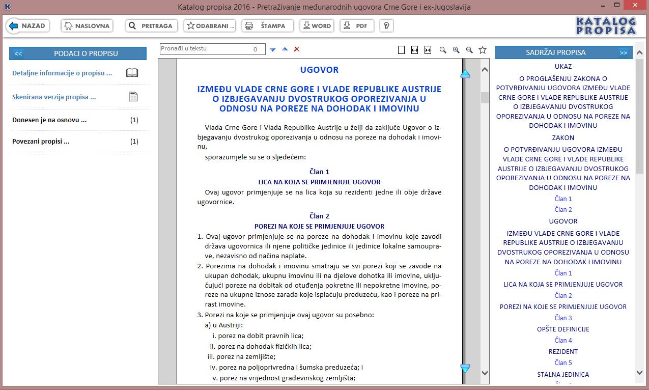 Katalog propisa 2016 - Tekst međunarodnog ugovora Crne Gore