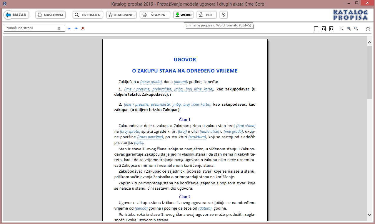 Katalog propisa 2016 - Tekst modela Ugovora o zakupu