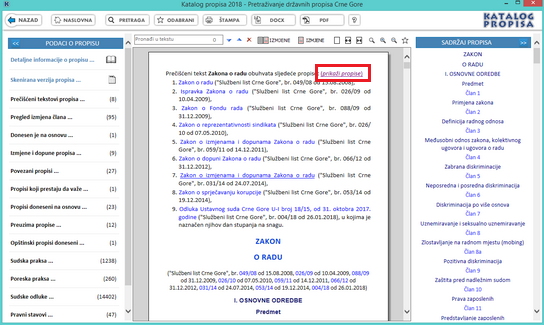 Katalog propisa - Zaglavlje propisa