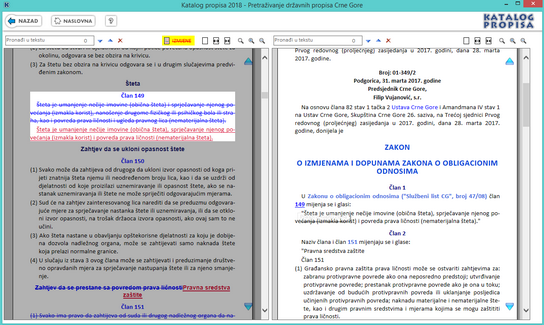Katalog propisa - Prikaz izmjene upredno sa tekstom