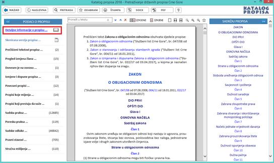 Katalog propisa - Detaljne informacije o propisu