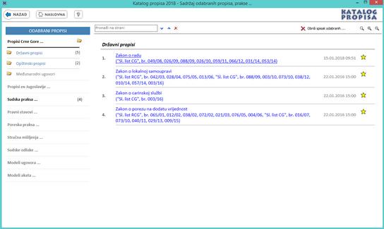 Katalog propisa - Lista odabranih propisa