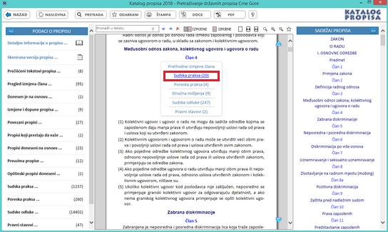 Katalog propisa - Sudska praksa za član