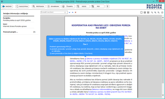 Katalog propisa - Izvod iz poreske prakse