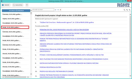Katalog propisa - Azurirani propisi na dan